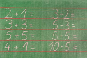 Rechenaufgaben an der Tafel einer Grundschule