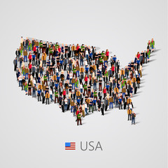 Large group of people in United States of America or USA map with infographics elements.