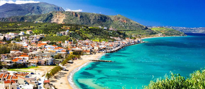 Greek holidays - beautiful Kalyves village with turquoise sea. Crete island