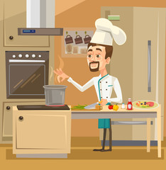 Happy smiling Chef character in kitchen preparing meals. Vector flat cartoon illustration