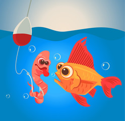 Fish and worm characters. Fishing. Vector flat cartoon illustration