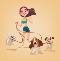 Dog walking service. Woman character run with pets. Vector flat cartoon illustration