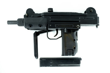 submachine gun isolated on white, pneumatic