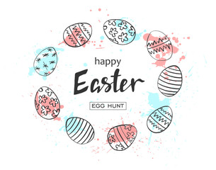Happy Easter egg hunt vector illustration. Holiday banner design with hand drawn eggs and watercolor blots. Hand drawn lettering.