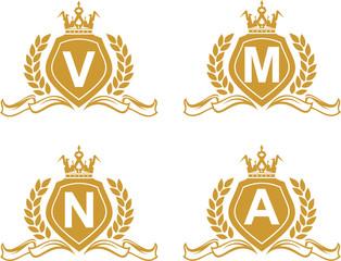 logo gold emblem letter on shield