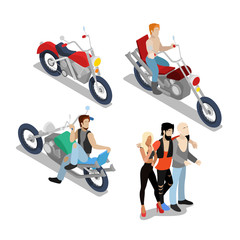 Bikers with Motobikes. Motorcycle Riders. Vector flat 3d isometric illustration