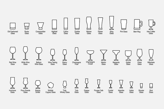 Types of glasses with names, line icons set. Vector illustration