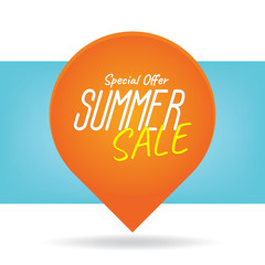 Summer Sale heading design like the sun for banner or poster. Sale and discounts. Vector illustration