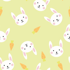 Seamless texture pattern bunnies and carrots on a color background, vector image