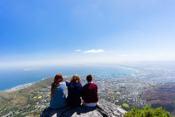 3 girls on top of Table Mountain
