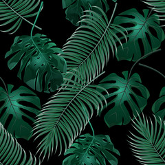Green tropical palm leaves and monstera. Jungle thickets. Seamless floral pattern. Isolated on a black background. illustration