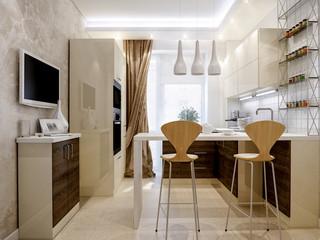 Modern kitchen interior design with white and wooden facades