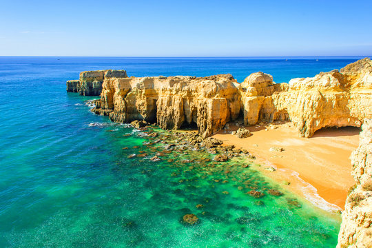 beautiful sea view with secret sandy beach near Albufeira in Algarve, Portugal