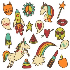 Set of retro colored funny stickers.