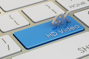 4K HD video concept on keyboard button, 3D rendering