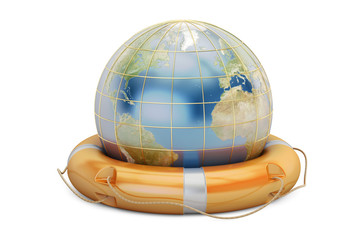 Earth globe with lifebuoy. Save the world concept, 3D rendering