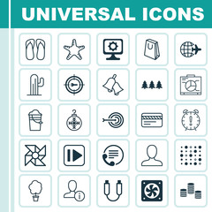 Set Of 25 Universal Editable Icons. Can Be Used For Web, Mobile And App Design. Includes Elements Such As Laptop Ventilator, PC, Holiday Ornament And More.