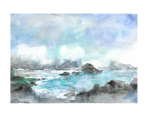 Seascape watercolor abstract  painting.  Clouds  over the sea watercolor illustration. Landscape illustration.