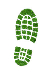 Green grass footprint boot, vector illustration.