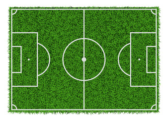 Top view of green grass soccer field, vector illustration.