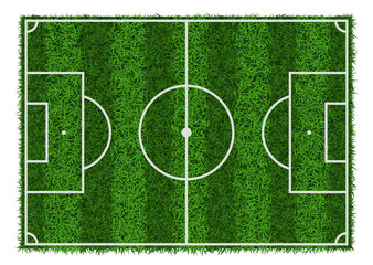 Top view of green grass striped soccer field, vector illustration.