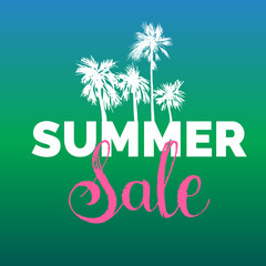 Summer sale lettering vector background. Season discount illustration. Special offer poster with hand drawn palms.