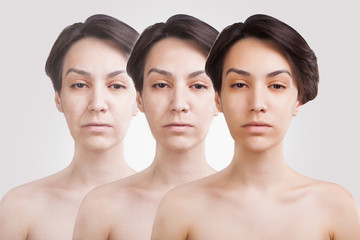 three ages of asian woman face colage
