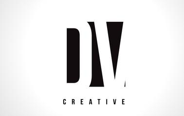 DV D V White Letter Logo Design with Black Square.