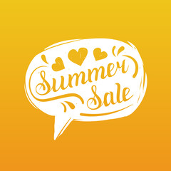 Summer sale lettering in speech bubble. Season discount vector background. Special offer hand written design concept.
