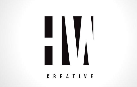 HW H W White Letter Logo Design with Black Square.