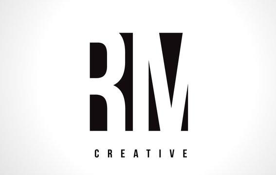 RM R M White Letter Logo Design with Black Square.