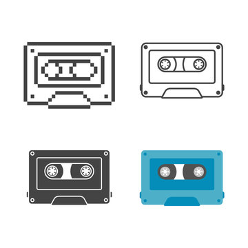 Set retro audio cassette flat, line and pixel icon
