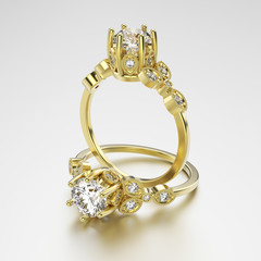 3D illustration two gold rings with diamonds