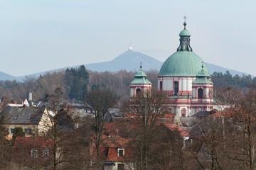 Novy Falkenburk castle in Jablonne v Podjestedi and Jested Tower in Liberec, Czech Republic