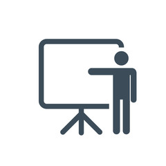Training, education and presentation icon. Vector illustration. Black-white pictogramm