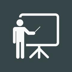 Training, education and presentation icon. Vector illustration. Black-white pictogramm