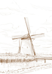 Scenic fields in the background windmills in Holland. Netherlands, Europe. Hand drawn vector illustration
