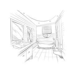 Hand drawn bathroom interior sketch design. Vector illustration