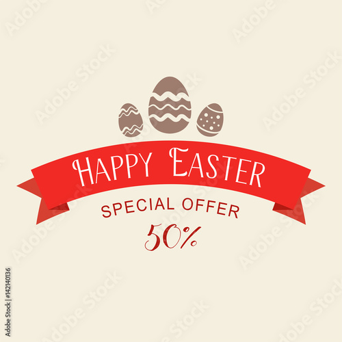 easter sale special offer with red ribbon. banner design template, Powerpoint templates