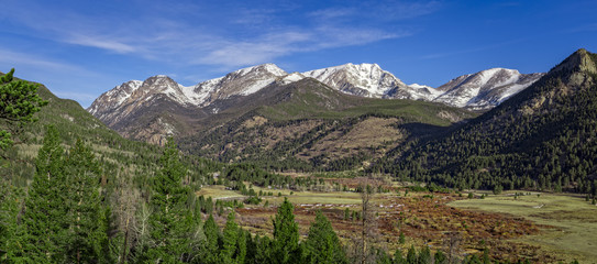 Panoramic view of the Mummy Range, Rocky Mountain Nation Park, Colorado, USA