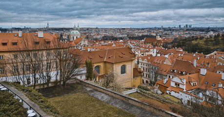 Wonderful aerial view over the city of Prague from Prague castle