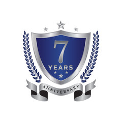 7th anniversary years shield blue silver color