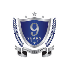 9th anniversary years shield blue silver color