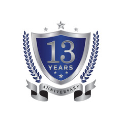 13th anniversary years shield blue silver color