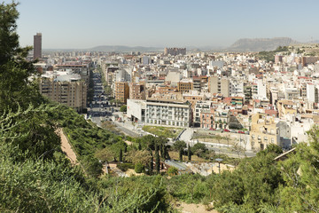 View of Alicante in Spain, from the mountain of Castle of Santa Barbara. Horizontal shot. Date taken on March 15, 2017.
