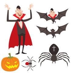 Cartoon dracula vector symbols vampire icons character funny man comic halloween and magic spell witchcraft ghost night devil tale illustration.