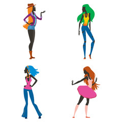 Fashion look girl silhouette beautiful girl woman female and pretty, young, model, style, hair, lady character glamour cute vector illustration.