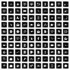 100 mail icons set, grunge style