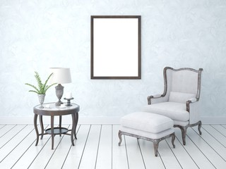 Mock up the living room in retro style on a gentle trendy background.