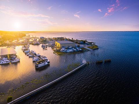 Aerial view of Lake Monroe in Sanford Florida
